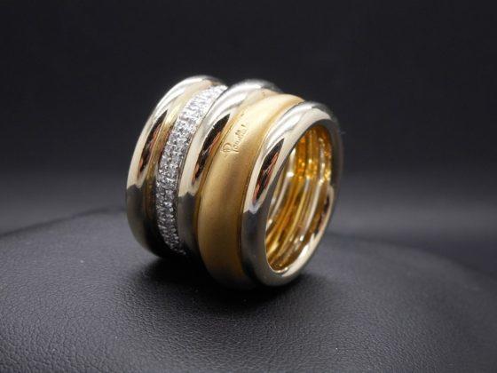 Anello Pomellato tubulaire in oro giallo e diamanti
